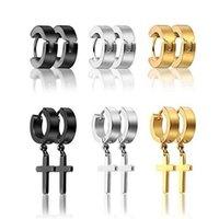 Dangle & Chandelier 6 Pair set Fashion Stainless Steel Punk Earrings Men Women Simple Wild Cross Pendant Earring Jewelry Couples Gifts J60E