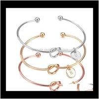 Bracelets Banglets Drop Livraison 2021 26 AZ Français Anglais Initial Sier Lettre d'or Bracelet Bracelet Love Bowknot Bracelet Poignets Femmes Amitié Joyau