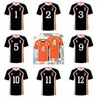 Haikyu !! Haikyuu Cosplay Kostüm Jerseys Männer Tops Highschool Volleyball Club Hinata Shoyo Sportswear Shirt Knieschützer 10 11