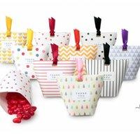 Cajas de regalo de caramelo de papel kraft creativo Forma de favores de boda Favores de regalo Cajas de embalaje Drageo Bolsas con cinta DWF7062