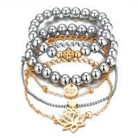 Creative Openwork Strand Bracelets Suits Peach Heart Bracelet Set Women Natural Stone Tassel Pendant Bangles Femme Beaded, Strands