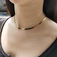 Einfache 3mm Goldfarbe Edelstahl Schlangenkette Halskette Für Frauen Mädchen Flache Herring Bone Link Chokers Chic Schmuck DN223