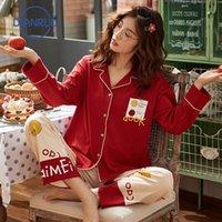 Dianruo New Soft Signore Pigiama Pigiama Abito domestico Cotone Pantaloni a maniche lunghe Cardigan Stampa Punte Stampate Donne Girl Sleepwear R612