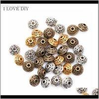 Bead Caps Ergebnisse Komponenten Drop Lieferung 2021 Großhandel-3 Farben 100 stücke Mixed Tibetan Sier Spacer Mode DIY Perlen für Schmuckherstellung B