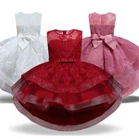 Girl's Dresses Vintage Flower Embroidery Girls Dress Wedding Ceremony Tutu Clothing Princess Party Kids For Vestidos Infantil