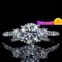 Baojiali Simulation Three Round Diamond Zircon Rings Dinner Ring Girl
