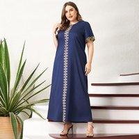 Womens Plus Size Dresses Casual Summer Fashion Elegant Golden Plaid Print Stitching Loose Short-sleeved Long Slim Dark Blue Vintage Woman Party Dress