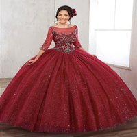 Beautiful Scoop Neckline Bling Bling Debutante Gowns Quinceanera Dresses With Sleeves Basque Waist Backless Long Prom Dresses ADQ006 Fmxop