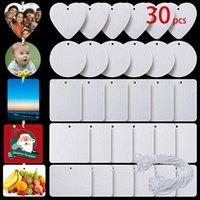 Photo Books 30pcs set Sublimation Blank Air Freshener Felt Material Sheet White Unscented Home Fragrances Car Fresheners With String