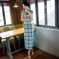 Elegant Orientale Women Short Sleeve Satin Long Qipao Chinese Mandarin Collar Plaid Prined Cheongsam Oversize 3XL Ethnic Clothing