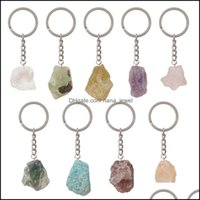 Key Rings Jewelry Selling Natural Gemstone Pendant Keychain Men Womens Lucky 25-30Mm Jade Quartz Amethyst Car Keyring Jewelry Drop Delivery