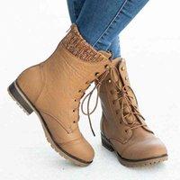 MoneRffi Flat Womens Boots And Calf Lacing Womens Warm Fashion Round Head Comfortable 2019 Winter New Fashion Trend Brown Boots Winter Boots