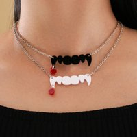 Fashion Jewelry Colourfuls Acrylic Chains Necklace for Women Tooth Vampire Pendant Necklaces