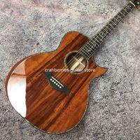 사용자 정의 공장 Gaylor SP14 모델, 전체 Koa 어쿠스틱 기타, 상감 전복 진짜 흑단 핑거 보드, 41 인치 6 문자열 기타, 최고 품질
