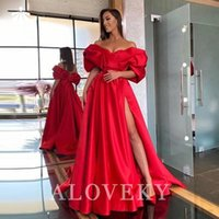 Party Dresses Red Satin Long Dress Side Split Off The Shoulder Women's Evening 2021 Prom Gown For Women Night Elegant Gala