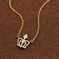 Colares pingentes nobre rainha coroa colar de jóias real aço inoxidável cadeia de ouro cristal princesa gargantilha casamento presentes