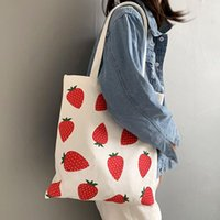 Evening Bags W&G Korean Strawberry Printed Canvas Student Schoolbag Single Shoulder Wallet Bag Handbag Tote