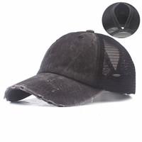 Casquette Hut Waschbare Pferdeschwanz Baseballmütze Baumwolle Stickerei Tuch Hut Männer Sonne