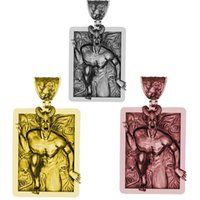 Charms gothic punk heren hanger zonder keten Devil Satan Goat Head Skull geometrische rechthoek sieraden accessoires
