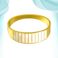 Wide Hand Bangle European And American Fashion Natural Shell Titanium Steel Bracelets Irregular Circle Personalized Gold Color Unisex Accessory