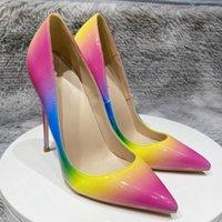 Luxury Brand Designer Women Shoes Red bottoms High Heels 8cm 10cm 12CM Plus size eur34 to 45 Pointed Toes pumps rainbow bridal wedding shoe Dress Autumn Patent leather
