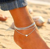 Bohemian Heart Shaped Anklets Multi-layer Beach Anklet Foot Bracelets Barefoot Sandals Jewelry for Women Girls gift