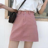 Denim branco uma linha curta jeans mulheres saia alta cintura coreana