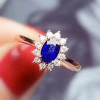 Cluster Rings Per Jewelry Natural Real Sapphire Classical Ring 4*6mm 0.6ct Gemstone 925 Sterling Silver Fine T2041515