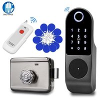 Fingerprint Access Control Wiring-free Smart Biometric Door Lock Kit Wireless Remote Battery-operated For Apartment Wooden   Metal