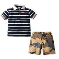 Комплекты одежды Дизайнеры Одежда для детей Мальчики Baby Polo Slipe костюм летняя рубашка + шорты 2 шт. Детские наряды для 2-6Y