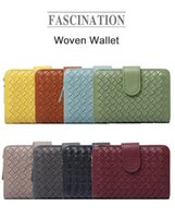 Wallets 2021 Fashion Wallet Handmade Short Woven Leather Lady Small Ladies Purse Card Holder For Women