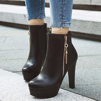 High Heel Boots Woman Winter Sexy Tassel Platform Female Quality Leather Thin Ladies Height Increasing Booties B0G1#