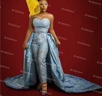 블루 레이스 jumpsuit 댄스 파티 드레스 오버 킷 2021 우아한 연인 새틴 아프리카 이브닝 가운 흑인 소녀 공식 졸업 야간 파티 착용 스커트