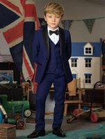 Men's Suits & Blazers Three Pieces Boys Wedding Groom Tuxedos Teens Custom Kids Children Party Casual Formal (Jacket+Vest+Pants)