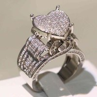 Choucong Top Selling High Quality Vintage Jewelry 925 Sterling Silver Pave White Saaphire CZ Diamond Eternity Women Wedding Heart Band Ring