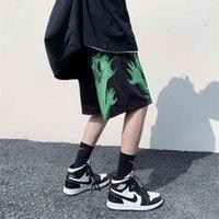 Privhickerer мужские повседневные негабаритные шорты моды напечатаны хип-хоп корейская уличная одежда мужчина 210729