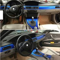 For BMW 3 Series E90 E92 4 doors Interior Central Control Panel Door Handle Carbon Fiber Stickers Decals Car styling Accessorie