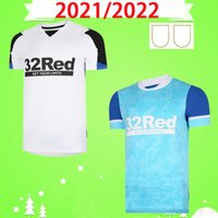 21 22 Derby County Rooney Soccer Jerseys Home White White Blue Kit de adultos Martin Lawrence Football Shirts 2021 2022 Derby County Wisdom Waghorn Uniforme