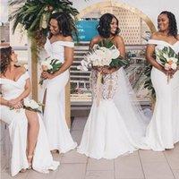 African Mermaid Bridesmaids Dresses Long Bateau Cap Sleeveless Slim African wedding Guest Dress Side Split Maid Of Honor Dress Gowns