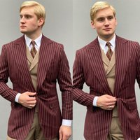 Burgundy Stripe Mens Business Tuxedos Slim Fit Groom Wedding Suits Formal Prom Party Outfit Only One Jacket