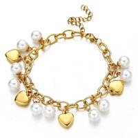 Charm Bracelets Stainless Steel Chain Multi-layer Heart Simulated Pearl Bracelet For Women Jewelry Gifts