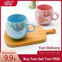 Küchenmikrowellen-Nutzungsset von 4 Stück 16 Stück 16Oz-Kaffeetasse Keramik-Wasser-Becher bedruckte Milchbecher mit Griff-Dinning-Bar-Tumbler-Werkzeuge blau pink