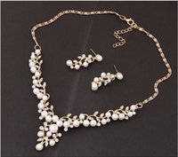 2021 Wedding Imitation Pearl Simple Earrings Necklace Bridal Jewelry Set Women Accessories