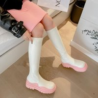 Boots 2021 Korean Style Knight Women Fashion Macarons Thick Bottom Over The Knee Single Shoes
