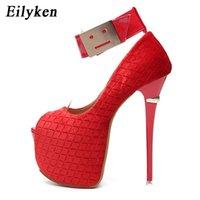 Eilyken Spring Sexy Woman Pumps Platform heels Party Peep Toe Hook & Loop Pumps shoes Wedding Red Black size 34-40 210408