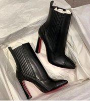 """Botas de tornozelo de luxo elegante senhora vermelha botas de fundo """"me em 90"""" pluma moda mulheres boot de couro apontado toe dedo alto saltos vestido de festa casamento EU35-43"""