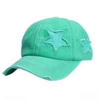 Bayan Kızlar Cap Şapka Pamuk Sıkıntılı Ripped Pırıltılı Bling Yama Yıldız Yüksek At Kuyruğu Seyahat Spor Beyzbol Şapkalar Şapka