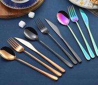 Korean sets stainless steel long handle knife fork spoon chopsticks set colorful flatware for wedding kitchen accessories ZWL253