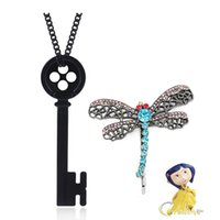 Horror Film Coraline Cartoon Black Button Skull Key Neck Chain Libel Hair Pin for Women Jewelry Poison