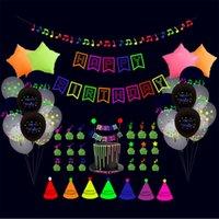 56 unids / set Feliz cumpleaños Globos FLUORESCENTE Party Decorations Letters Fashion Cumpleaños Bandera Pastel Insertar Balloon Set Latex Star Aluminio Globo G52YUTR